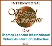 Thomas Leonard International Virtual Assistant of Distinction Award Winner 2012