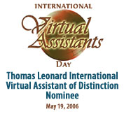 Thomas Leonard International Virtual Assistant of Distinction Award Nominee